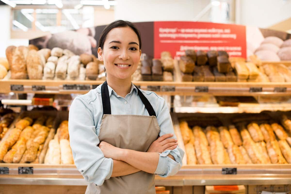 Verkäuferin in Bäckerei Visitenkarte im Web