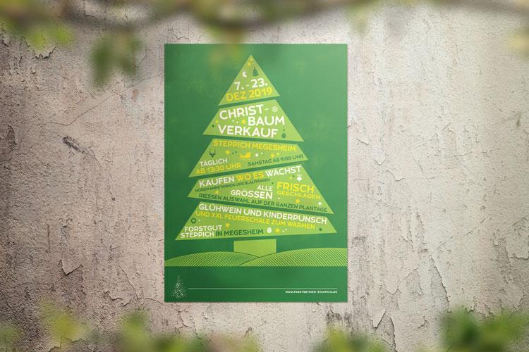 Plakat Christbaumverkauf Forstbetrieb Steppich