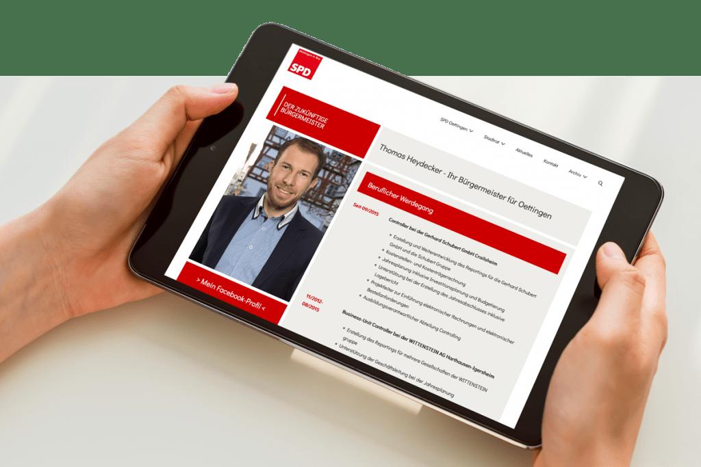 Mockup SPD-Oettingen Tablet Webseite
