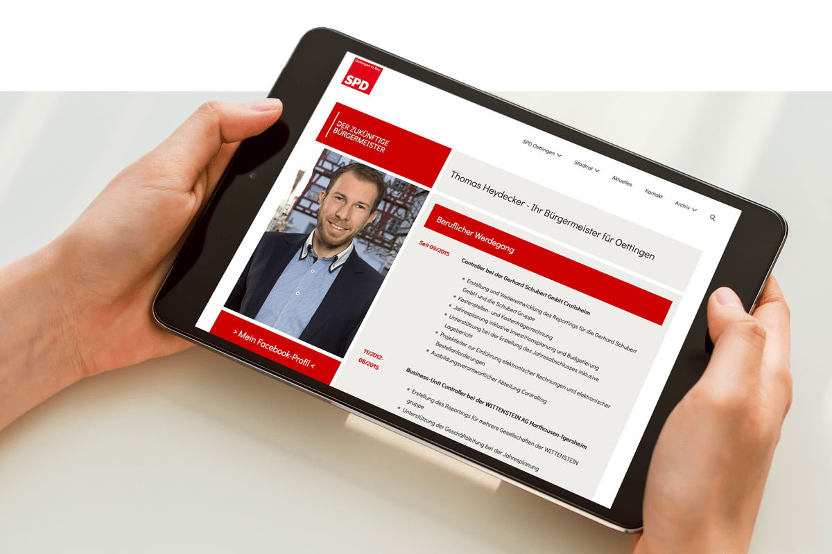 Mockup SPD-Oettingen Tablet Webseite